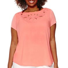 Liz Claiborne® Short-Sleeve Cut Out Tee - Plus - JCPenney   I have this in a petite size and love it.