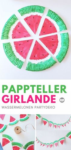 Pappteller Bastelidee im Sommer: Fruchtige Melonen Girlande Crafts out of paper plates with children, toddlers, kindergarten in summer, watermelon garland Crafts For Teens To Make, Summer Crafts For Kids, Diy For Teens, Diy For Kids, Kids Crafts, Summer Fun, Easy Crafts, Diy And Crafts, Paper Plate Crafts