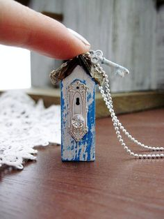 Birdhouse Necklace  Sterling Silver Chain by DoodleBirdie on Etsy