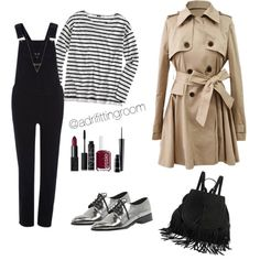 Outfit #31 by adrifittingroom on Polyvore featuring polyvore, fashion, style, J.Crew, River Island, NARS Cosmetics, MAC Cosmetics, Essie, Silver, autumn, jumpsuit, Trench and falloutfit