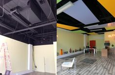 Before and after stretched membrane covered suspended panels were installed at Intex DZGN office, Toronto, ON More: http://blog.laqfoil.com/?p=715 http://www.intexdzgn.com/