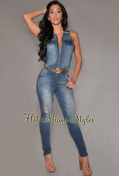 820469a26f6 Zippered Denim Jumpsuit Womens clothing clothes hot miami styles  hotmiamistyles hotmiamistyles.com sexy club wear