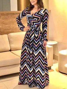 Shop Maxi Dresses Chevron Stripe Long Sleeve Self-Belted Maxi Dress Stunning Dresses, Elegant Dresses, Pretty Dresses, Casual Dresses, Fashion Dresses, Maxi Dresses, Long Dresses, Denim Dresses, Awesome Dresses