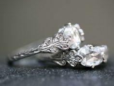 Cathy Waterman- Love of My Life: Page Nine - Rose Cut Double Leaf Diamond Rings- YLANG|23
