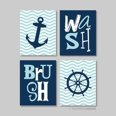 Nautical Wash Brush Print Quad  Baby. Decor. by RhondavousDesigns2, $30.00