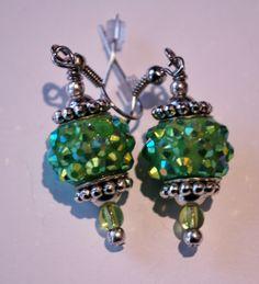 green glass bead earring