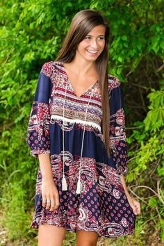Washed In Love Dress-Navy - New Arrivals | The Red Dress Boutique