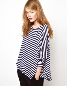 BZR Striped Wool Jersey Wide Top