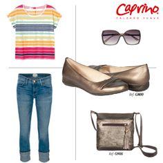 Confort y sofisticación para las vacaciones con este bolso y baletas muy cómodas de Calzado Caprino. ¡Look irresistible!