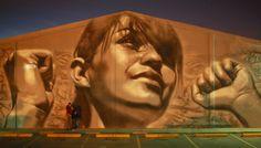 """Juarense y Ponderosa"" mural in Ciudad Juarez by El Mac."