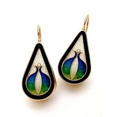 Enamel and Diamond Earrings MAGICK Fusager Gold & Cloisonne Oval Designer Earrings with Diamond Product Code: VS10040200 Our Price: $1,214.95