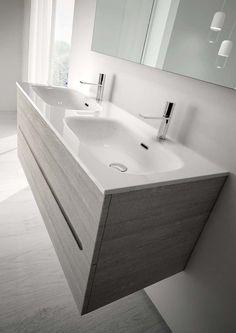 pozzi-ginori collezione metrica, mobile lavabo doppio, disponibile ... - Lucido Cabinet Grigio Lavandino