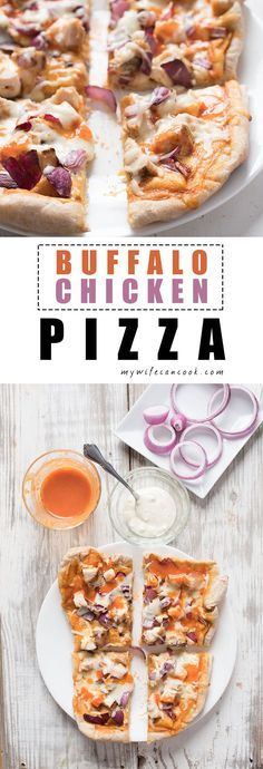When you love pizza and you love chicken wings it's only natural that you love Buffalo Chicken Pizza. This Buffalo Chicken Pizza Recipe is an attempt to create our own version of our all-time favorite Buffalo Pizza that is made by one of the local pizza joints. Blue Cheese Dressing, chicken coated in tangy buffalo sauce, red onions, and mozzarella combine to make a chicken wing pizza which will crave your buffalo wing and pizza cravings all at once. Plus, we share our easy buffalo sauce secr