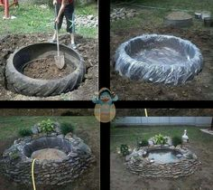 Little pond out of tractor tire!Easy diy old tractor tire rock fish pondGenius idea I think I'll grab our bad tractor tire and expand my pond!Earth friendly Pond via reduce, re-use and recycling an old tractor tire.Make a garden pond with a tractor tire Outdoor Projects, Garden Projects, Easy Projects, Outdoor Ideas, Small Ponds, Small Fish Pond, Koi Fish Pond, Backyard Landscaping, Backyard Ideas
