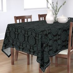 Floral Tablecloth - Madalynne Banning by cinneworthington - Woodcut Flowers Victorian Black Rose Cotton Sateen Tablecloth by Spoonflower Nigella Seeds, Floral Tablecloth, Victorian Flowers, Square Dining Tables, Elegant Table, Corner Designs, Fabric Wallpaper, Surface Design, Custom Fabric