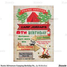 "Rustic Adventure Camping Birthday Party Invitation 5"" X 7"" Invitation Card"