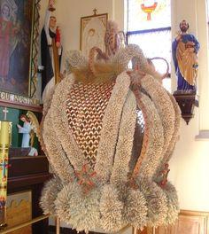 Wieniec dożynkowy Burlap, Weaving, Reusable Tote Bags, Folklore, Poland, Advent, Hessian Fabric, Loom Weaving, Crocheting