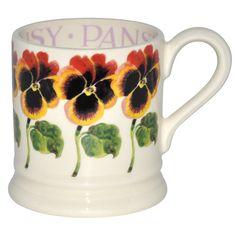 """Flowers"" Pansy Pint Mug at Emma Bridgewater Mug Drawing, Emma Bridgewater Pottery, Coffee Cup Art, Tea Party Decorations, Afternoon Delight, Pip Studio, Cool Mugs, Stoke On Trent, Pansies"