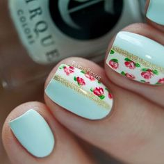 Pastel Blue, Gold, and Red Floral Nails