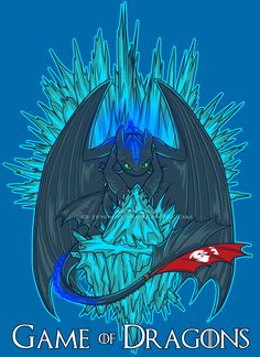 Game of Dragons - Crossover with Game of Thrones ... Drawn by sugarpoultry ... How to train your dragon, toothless, night fury, dragon, crossover, game of thrones