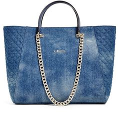 GUESS Nikki Denim Chain Tote ($77) ❤ liked on Polyvore featuring bags, handbags, tote bags, denim, chain tote bag, blue tote, tote bag purse, guess handbags and tote handbags