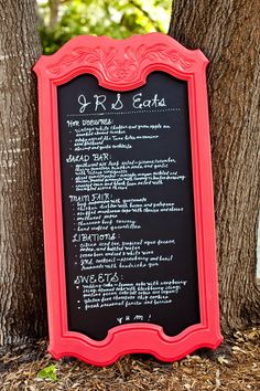 Crafty Idea: We could put your bar menu OR dinner menu on a large chalkboard and lean it up somewhere?