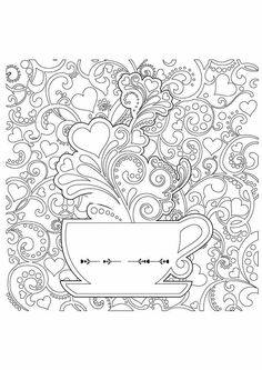 10 Coffee Coloring Pages For Your Little Coffee Lover Make your world more colorful with free printable coloring pages from italks. Our free coloring pages for adults and kids. Coloring Pages For Grown Ups, Detailed Coloring Pages, Free Adult Coloring Pages, Pattern Coloring Pages, Coloring Book Pages, Free Coloring, Colouring Pics, Color Me Beautiful, Coffee Colour