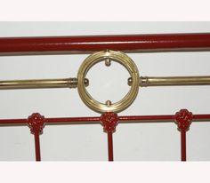 Antique French Standard Double Bed, Refurbished in Red