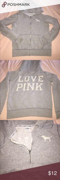 Pink VS sweatshirt Loved Pink VS sweatshirt! Missing drawstring but no stains or tears. PINK Victoria's Secret Sweaters