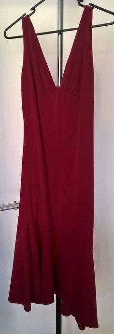 Brand-Wish, size 10, deep red, long line, asymetrical hemline, dress
