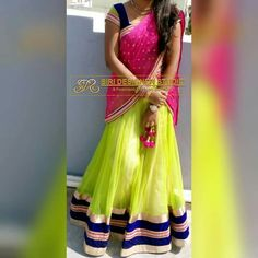 SDS-LH4 FABRICS: softnet,velvet and shiffon. Custom-made green, blue and pink combination lehenga blouse with simple border for a dear customer. To place an order plz inbox us or mail us at siridesignerstudio@gmail.com Thank you.
