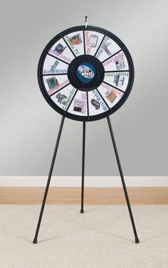 Prize Wheel with 12 Slots & Printable Templates, Countertop or Floorstanding - Black