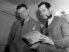 James Cagney visits Robert Montgomery on the set of Night Must Fall