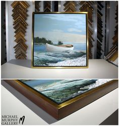 "Dramatic and clean-lined, this 3/4"" large cap is gilded in 22K gold with a light rub finish, made from solid walnut with spline corner joinery. We combined this sophisticated frame with a simple floater frame with a black interior to make the piece even more dramatic.  #FramingFriday #MMGallery"