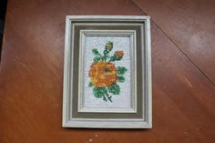 Bead Embroidery Flower Art Vintage Seed Bead by RustiqueTreasurz