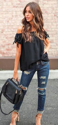 #fall #outfits women's black off shoulder top, distressed blue jeans, and beige high heels outfit