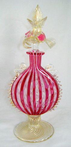 Venetian Glass Italian #Perfume #Bottle // #Pink