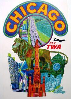 Fly TWA CHICAGO - Trans World Airlines - David Klein