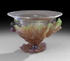 """Lot:1443: Daum, France, Pate de Verre """"Figs"""" Bowl, Lot Number:1443, Starting Bid:$600, Auctioneer:New Orleans Auction Galleries, Auction:1443: Daum, France, Pate de Verre """"Figs"""" Bowl, Date:07:00 AM PT - May 20th, 2012"""