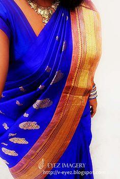 double tone blue kanchipuram silk saree with pale peach border