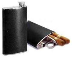 """The Cigar / Flask Combo consists of a 4 oz hip flask wih a 6-1/2"""" cigar holder. The black cover is genuine cowhide ( cigars not included ), It makes a great Christmas gift for your man ... Get it for only $29.99 at http://christmasgiftsformen.professorsopportunities.com/cigar-case-flask-combo/"""