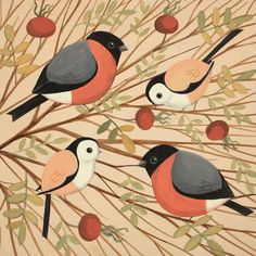 'Raiding The Rosehips' By Catriona Hall. Blank Art Cards By Green Pebble. www.greenpebble.co.uk