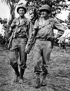 Major Archibald Roosevelt (left) was the son of Theodore Roosevelt and veteran of WW1. With him is Capt. Carl Webber of Seattle during the Allied landing in New Guinea in July 1943. (CSU_ALPHA_150) CSU Archives/Everett Collection