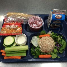 Tuna salad plate School Menu, School Lunch Recipes, School Lunches, Cafeteria Food, Fat Free Milk, Tuna Salad, Vegetable Salad, Salad Plates, Public School