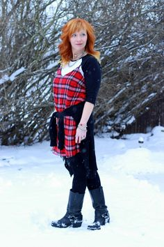 Fashion Fairy Dust:plaid slip dress, harness boots, baseball tee