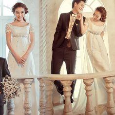 Cute White Cap Sleeve High Waisted Second Wedding Bridal Party Dress SKU-120110