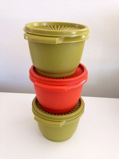 Tupperware Stackable Bowls with Lids Retro 70s Colors by KimBuilt, $20.00