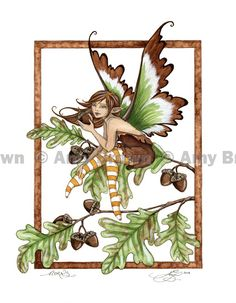 """""""Acorns"""" ORIGINAL ART - Watercolor Paintings A - H - Amy Brown Fairy Art - The Official Gallery"""