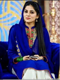 sanam baloch is cute and beautiful pakistani actress model anchor. looking blue shalwar kameez eyes style hair pics pictures photos images dress body ary news morning show television tv programme Pakistani Models, Pakistani Girl, Pakistani Bridal Wear, Pakistani Dress Design, Pakistani Actress, Pakistani Outfits, Simple Dresses, Blue Dresses, Beautiful Dresses