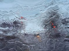 """""""Under the Unminding Sky"""" is an art series by Gregory Thielker. He paints with oil on canvas, and his work displays technical difficulty in terms of mimicking rain drops on car windows"""